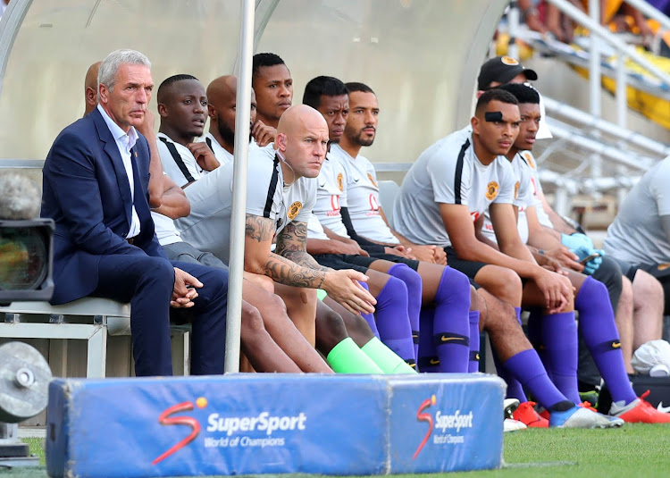 Kaizer Chiefs head coach Ernst Middendorp and his bench watch on during an Absa Premiership match against Polokwane City in Polokwane.