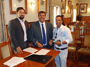 Photo: Sessão de apresentação do espaço Level UP - Dr. Fernando Horta – EMPET; Dr. João Pedro Rodrigues – EMPET; Rui Reis - Fonegarve