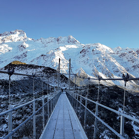 Swing Bridge to the Hooker Valley by Perla Tortosa - Buildings & Architecture Bridges & Suspended Structures ( mountains, nature, snow, frost, winter, bridge, swing bridge )