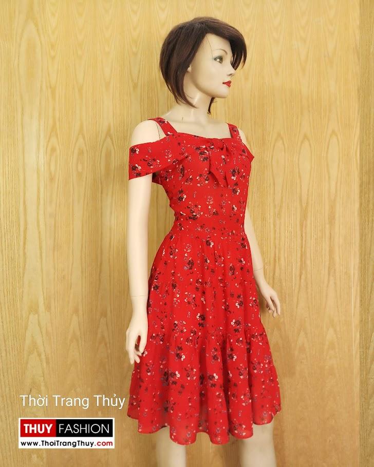 Váy xòe hai dây hở vai hoa nhí màu đỏ V685 thời trang thủy sài gòn