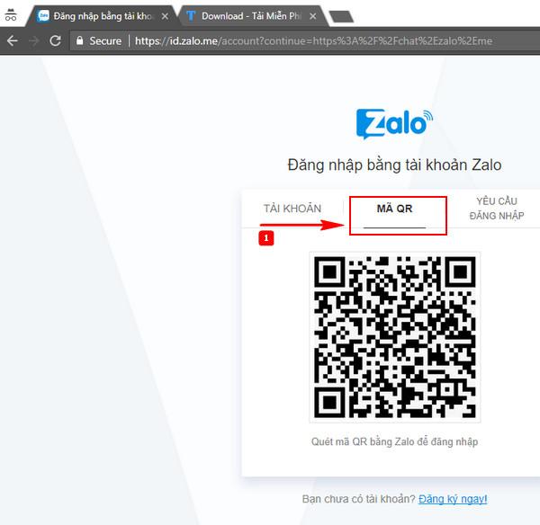 Đăng nhập zalo web thông qua việc quét mã QR