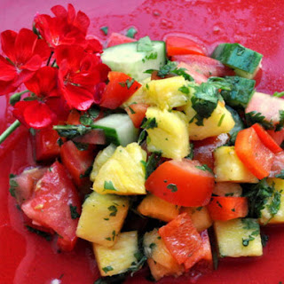 Pineapple Red Pepper and Cucumber Salad.