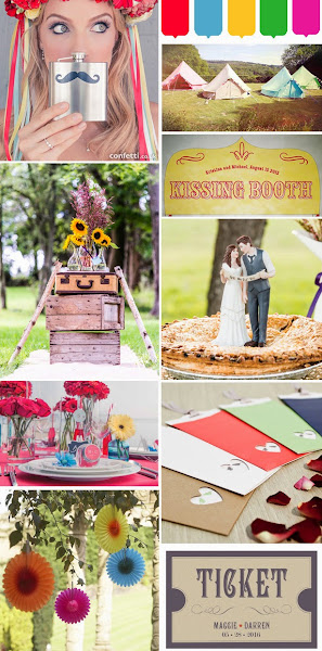 "Photo: Festival Theme Wedding Ideas  Clockwise from top right: Image courtesy of Boutique Camping | Kissing Booth Back Drop | ""Indie Style"" Wedding Couple 
