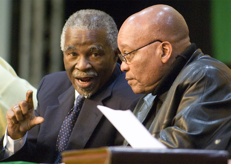 Thabo Mbeki, president at the time, and Jacob Zuma at the ANC policy conference in Midrand in 2007. Picture: MARTIN RHODES
