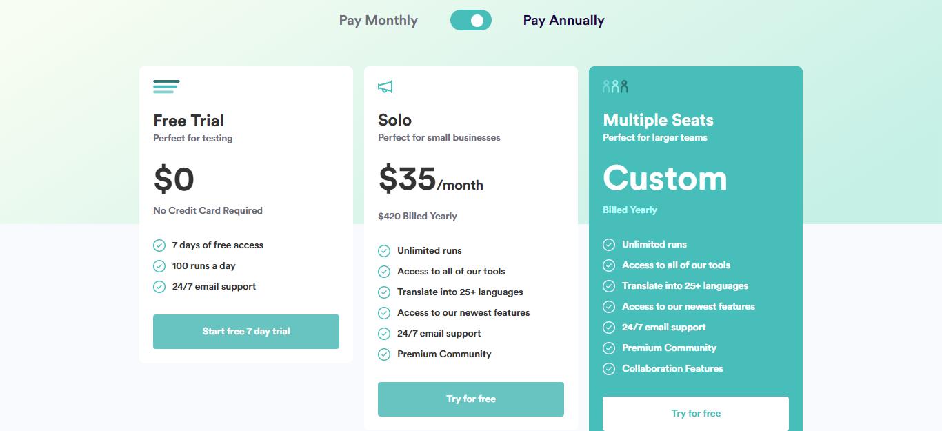copyai pricing table
