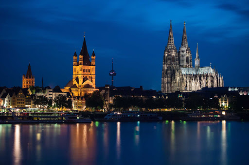 Germany-Cologne-spires - Cologne's two large churches are visible from the Rhine River.