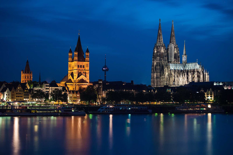 Cologne's two large churches are visible from the Rhine River.