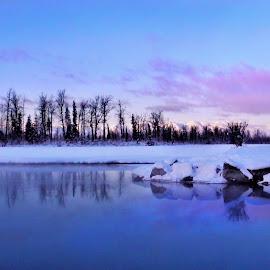 Just Before Sunset by Patricia Phillips - Landscapes Travel ( alaska  winter reflections eklutna )