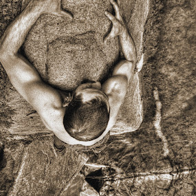 Hanging in There by AJ Schroetlin - People Fine Art ( selfie, climb, rock, self portrait, boulder, gary fong, hang, aj schroetlin, man )