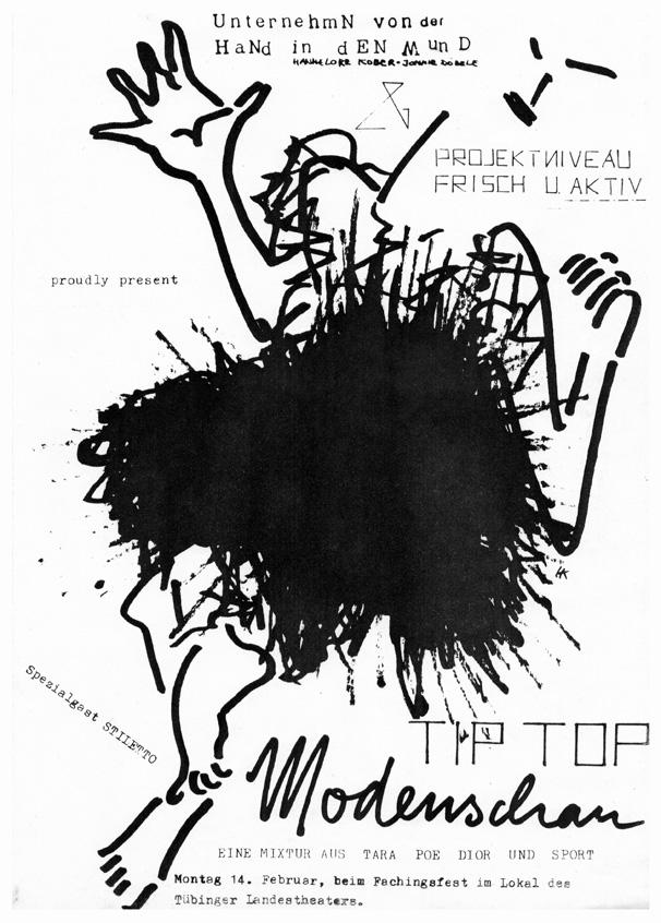 Photo: TIP TOP MODENSCHAU die 2. von insgesamt nur 3 Vorstellungen. Rosenmontag, 14.2.1983 im Landestheater Tübingen LTT ©Hannelore Kober, 1983  … und wer kann das schon von sich sagen: unsere Vorgruppe an diesem Abend war Die Kleine Tierschau!
