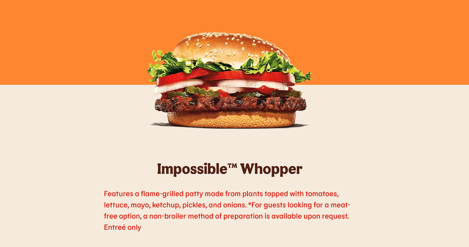 Crisis communication example of Burger King the Impossible Whopper