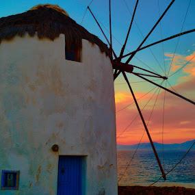 Mykonos Sunset by Kyle Kephart - Landscapes Sunsets & Sunrises ( mykonos, agean, sunset, mediterranean, beautiful, greece, sea, travel, windmill, island )