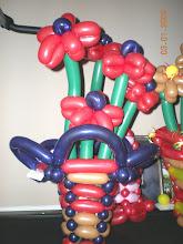 Photo: Balloon flowers in woven basket