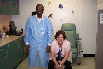 """Photo: Mr. Pete and Pat doing """"the Monkey"""" . She was the only nurse that could get Kortney to get her blood take and after that only Mr.Pete could do it. They are both really special people!"""