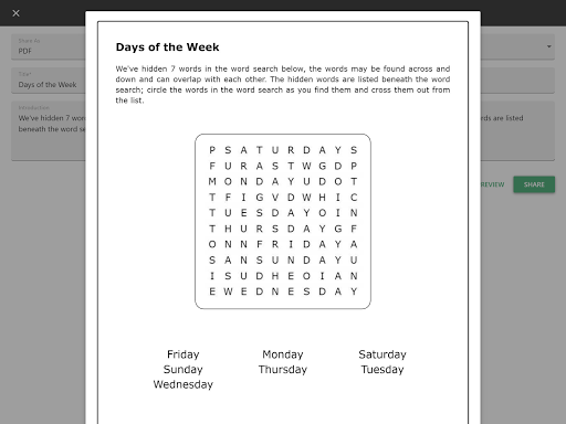 Word Search Maker App Report on Mobile Action - App Store