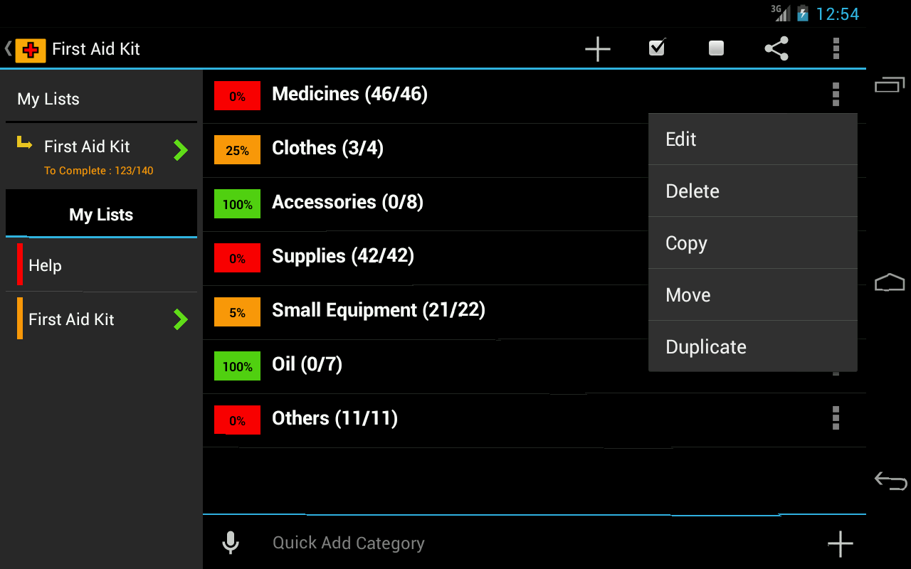 First Aid Checklist- screenshot