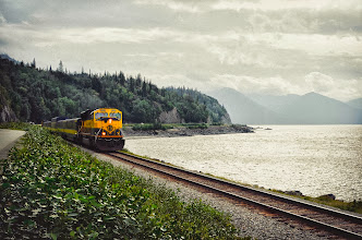 Photo: Train along Turnagain Arm by Donna Smith