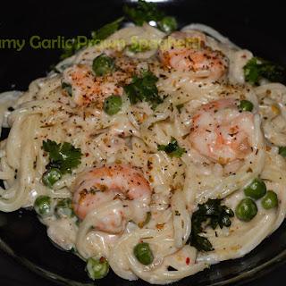 Creamy Garlicky Prawn Spaghetti recipe / Creamy Garlic Prawn Pasta.