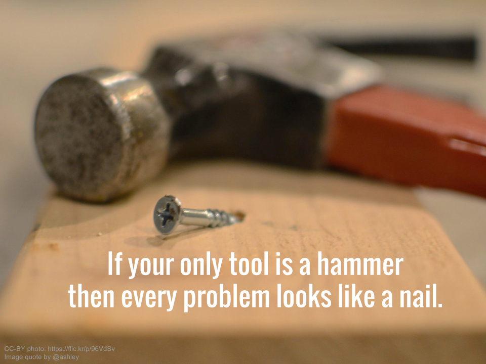 If your only tool is a hammer then every problem looks like a nail.