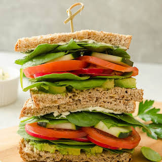 Ultimate Veggie Sandwich with Lemon Herb Cream Cheese.