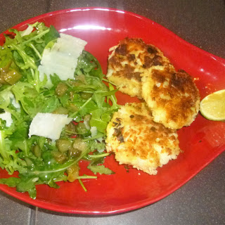 Panko Crab Cakes, Rocket Salad and an Anchovy and Caper Dressing