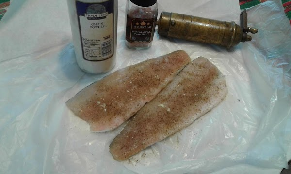 Season fish with salt, pepper, and onion powder then refrigerate overnight or at least...