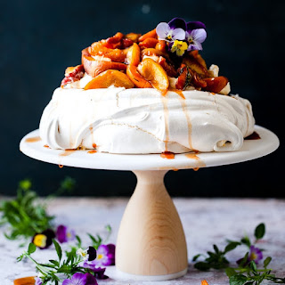 Easy Summer Fruit Pavlova with Brown Sugar Roasted Peaches Recipe