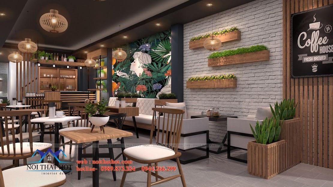 thiết kế quán cafe 40m2 2
