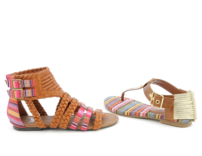 Photo: Bring in the tribal element with these chic flat sandals and thong sandals.