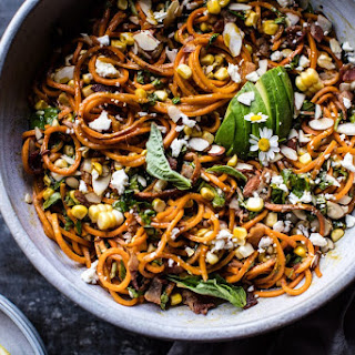 Basil Sweet Potato Noodle, Feta and Sweet Corn Miso Carbonara. Recipe