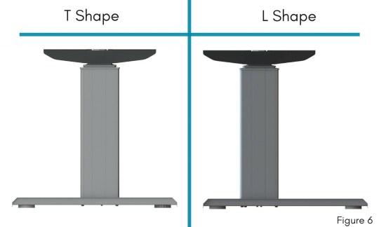 T-shape versus l-shape standing desk legs