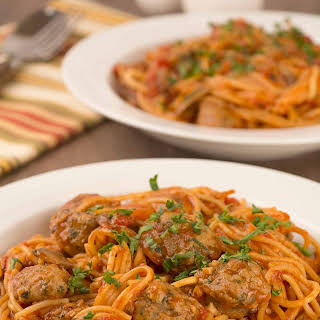 Pressure Cooker Spaghetti with Sausage and Mushrooms.