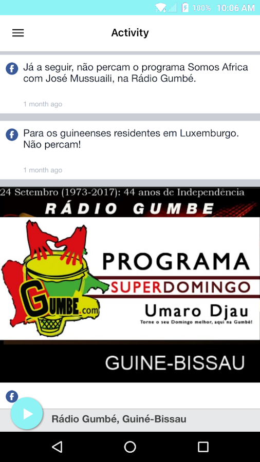 Rádio Gumbé, Guiné-Bissau- screenshot
