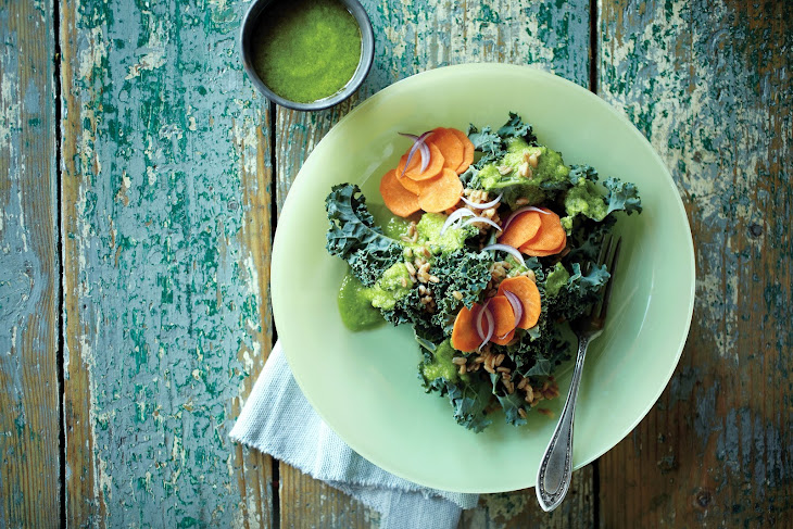Kale Salad with Green Garlic Dressing Recipe