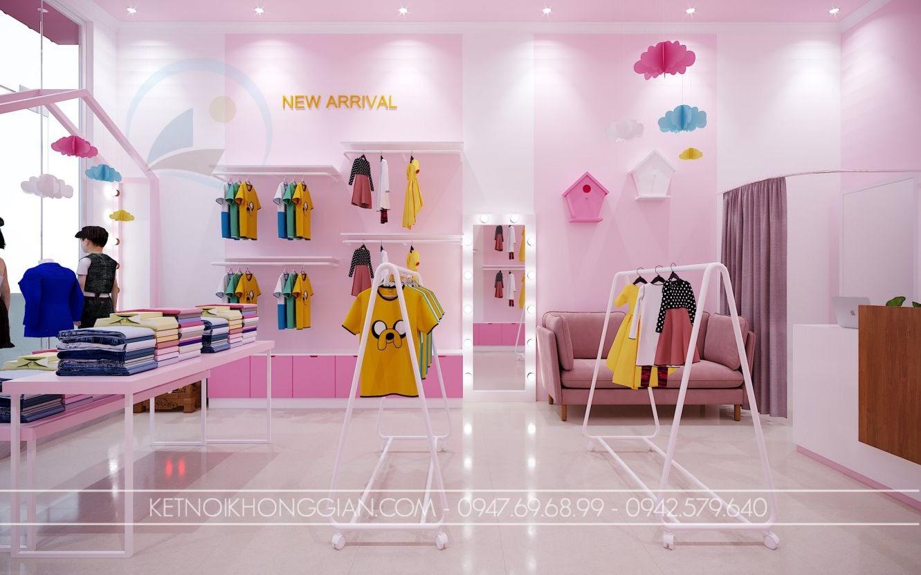 thiết kế shop quần áo trẻ em diện tích nhỏ ấn tượng