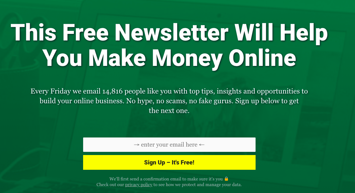 sign up for newsletter about affiliate marketing