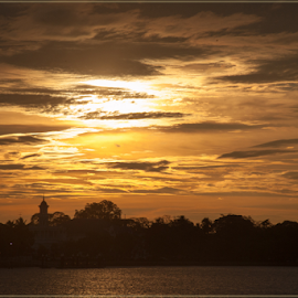 Muar Palace by Annette Flottwell - City,  Street & Park  Skylines ( sungai muar, sunset, muar, palace,  )