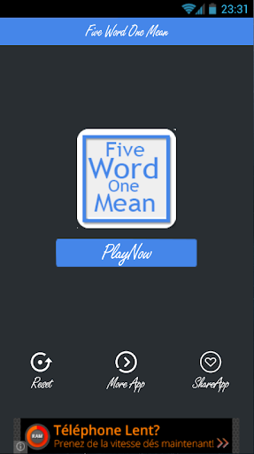 Five Word One Mean