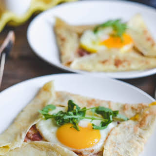 Cheesy Country Ham and Egg Crepes.
