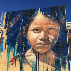 Young Girl by Dawn Simpson - City,  Street & Park  Street Scenes ( victoria, street art, young girl, painting, tourism, benalla, graffitti )