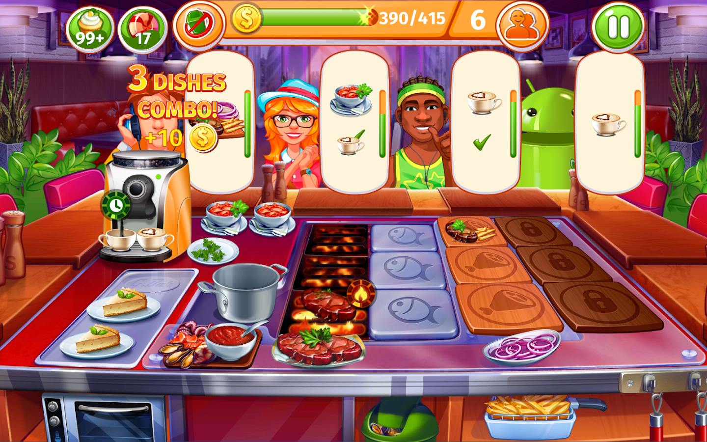 Cooking craze a fast fun restaurant game android for Big fish cooking games