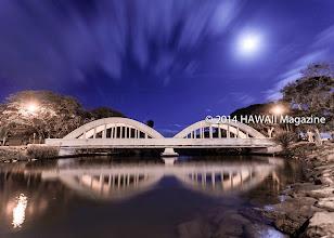 Photo: OUTDOORS CATEGORY, FINALIST. Haleiwa Bridge at night, Oahu. Photo by Mike Krzywonski, Haleiwa, Oahu, Hawaii.