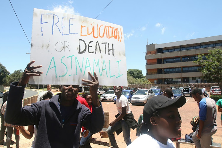 UJ students during their #FeesMustFall protest in Johannesburg. Picture: ANTONIO MUCHAVE/SOWETAN