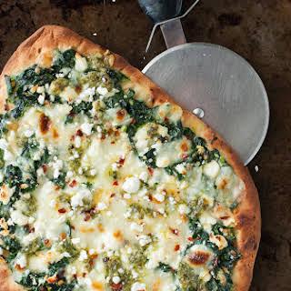 Three Cheese Pesto Spinach Flatbread Pizza.