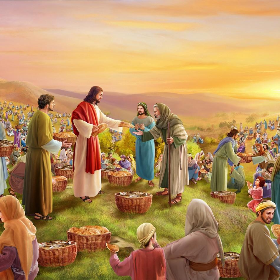 Jesus Feeds the Five Thousand. (John 6:8–13) One of his disciples ...