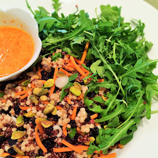 Red Quinoa, Couscous and Arugula Salad with Sweet Pimiento Dressing (Trader Joe's copycat recipe).