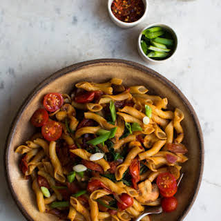 Asian Style Miso and Eggplant Pasta.