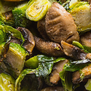 Roasted Brussels Sprouts and Mushrooms.