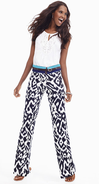 Photo: Take a walk on the wild side in attention-grabbing ikat pants. Balance them out with an embellished top in crisp, clean white.