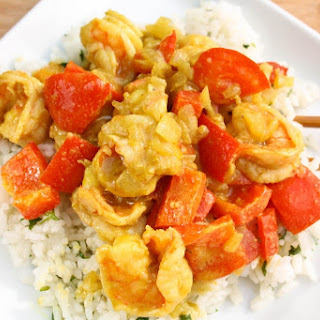 Shrimp in Yellow Curry Sauce with Ginger Jasmine Rice.